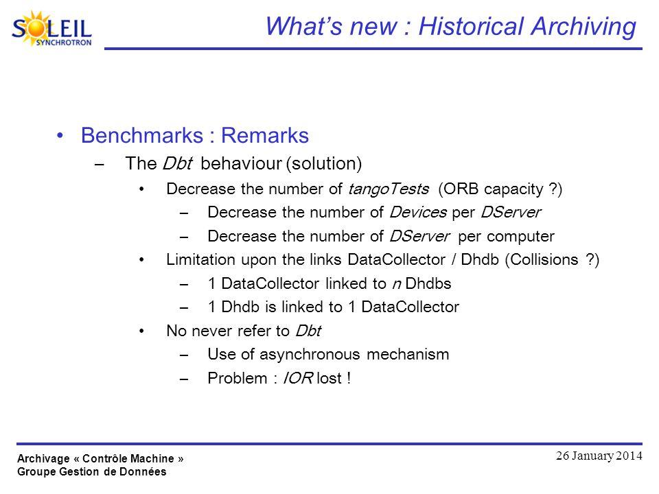 Archivage « Contrôle Machine » Groupe Gestion de Données 26 January 2014 Whats new : Historical Archiving Benchmarks : Remarks –The Dbt behaviour (sol