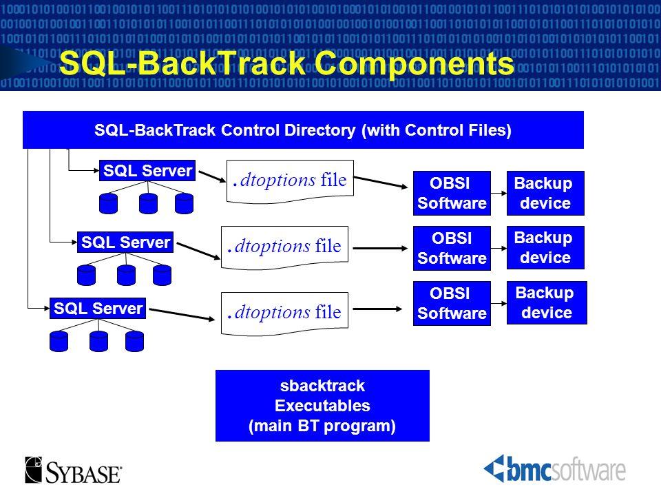 SQL-BackTrack Components SQL-BackTrack Control Directory (with Control Files) sbacktrack Executables (main BT program). dtoptions file SQL Server Back