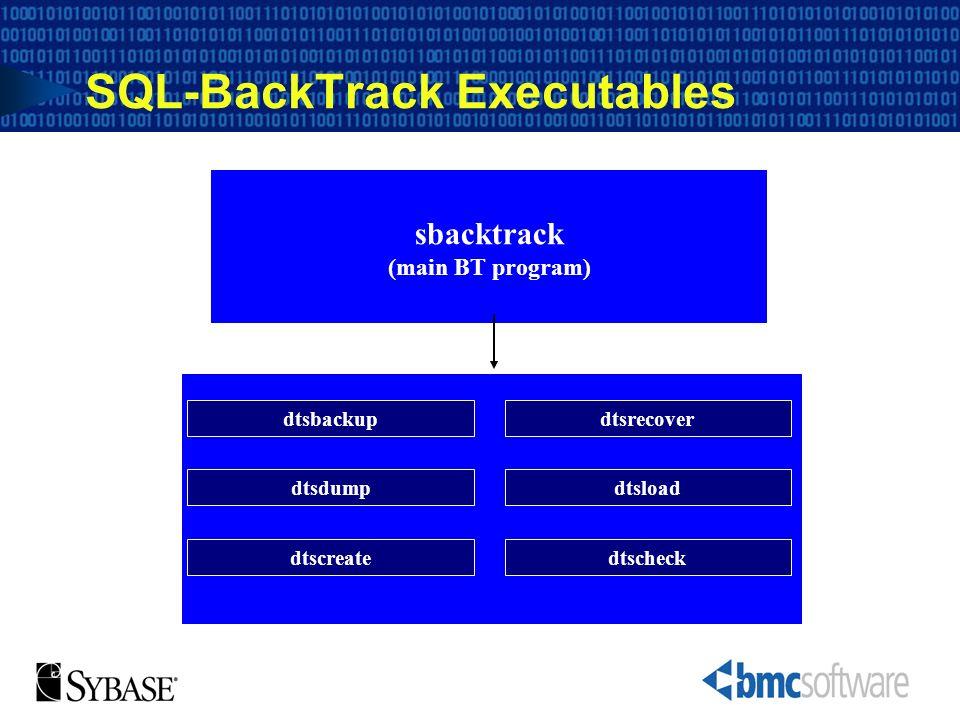 SQL-BackTrack Executables (lower-level SQL-BackTrack programs) sbacktrack (main BT program) dtsbackupdtsrecover dtsloaddtsdump dtscheckdtscreate