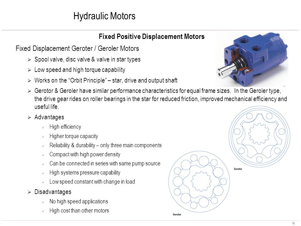 12 Hydraulic Motors Fixed Positive Displacement Motors Fixed Displacement Geroter / Geroler Motors Spool valve, disc valve & valve in star types Low s