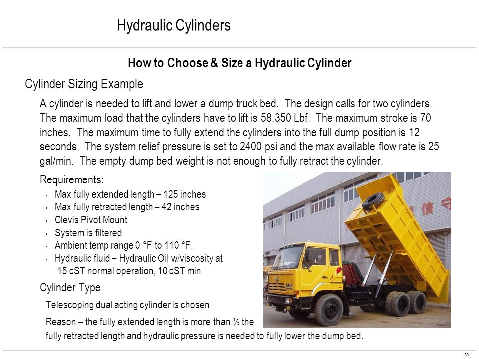 30 Hydraulic Cylinders How to Choose & Size a Hydraulic Cylinder Cylinder Sizing Example A cylinder is needed to lift and lower a dump truck bed. The