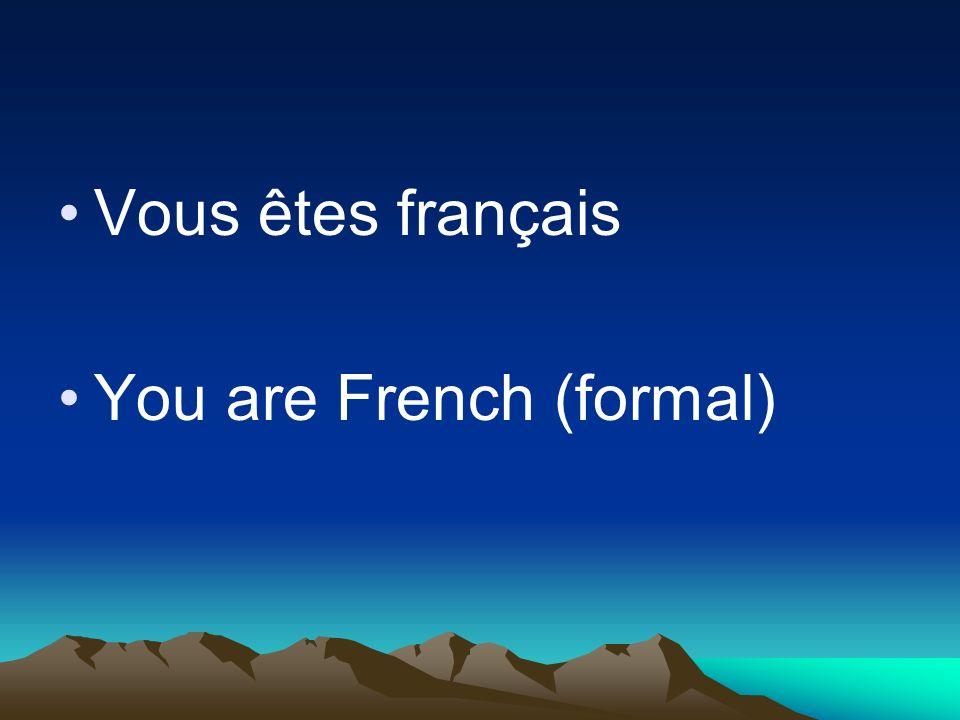 Vous êtes français You are French (formal)