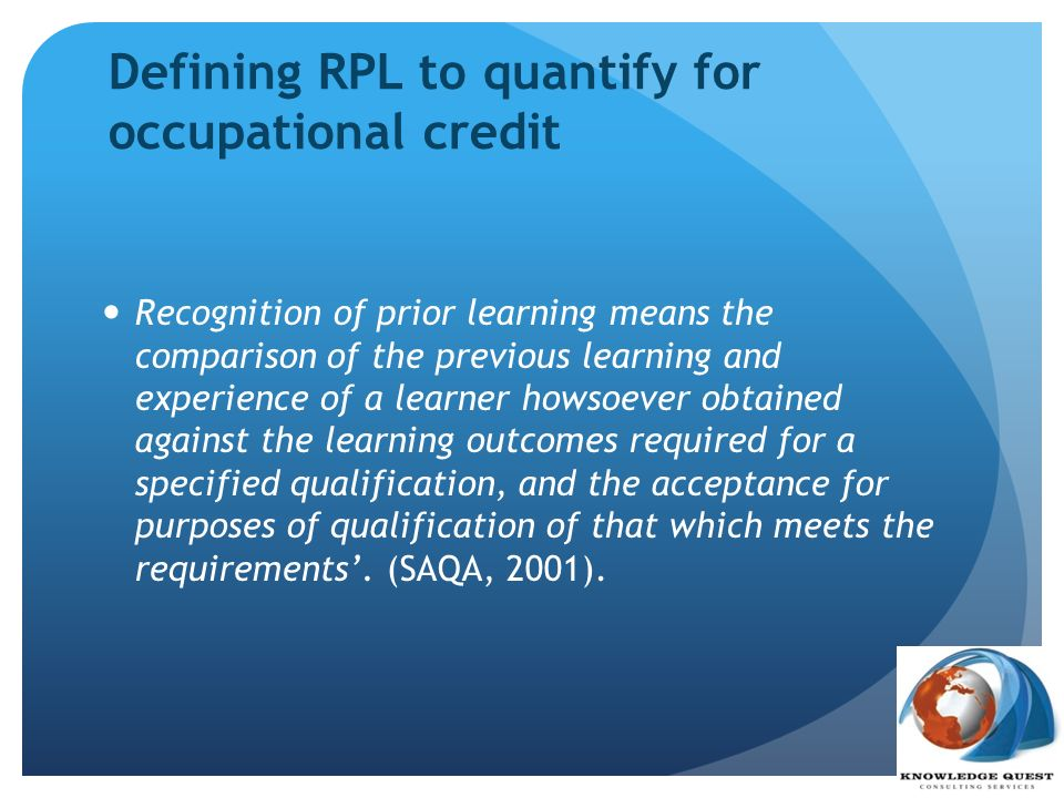 RPL to quantify for occupational credit - OFO It is important to note that a job and occupation are not the same.