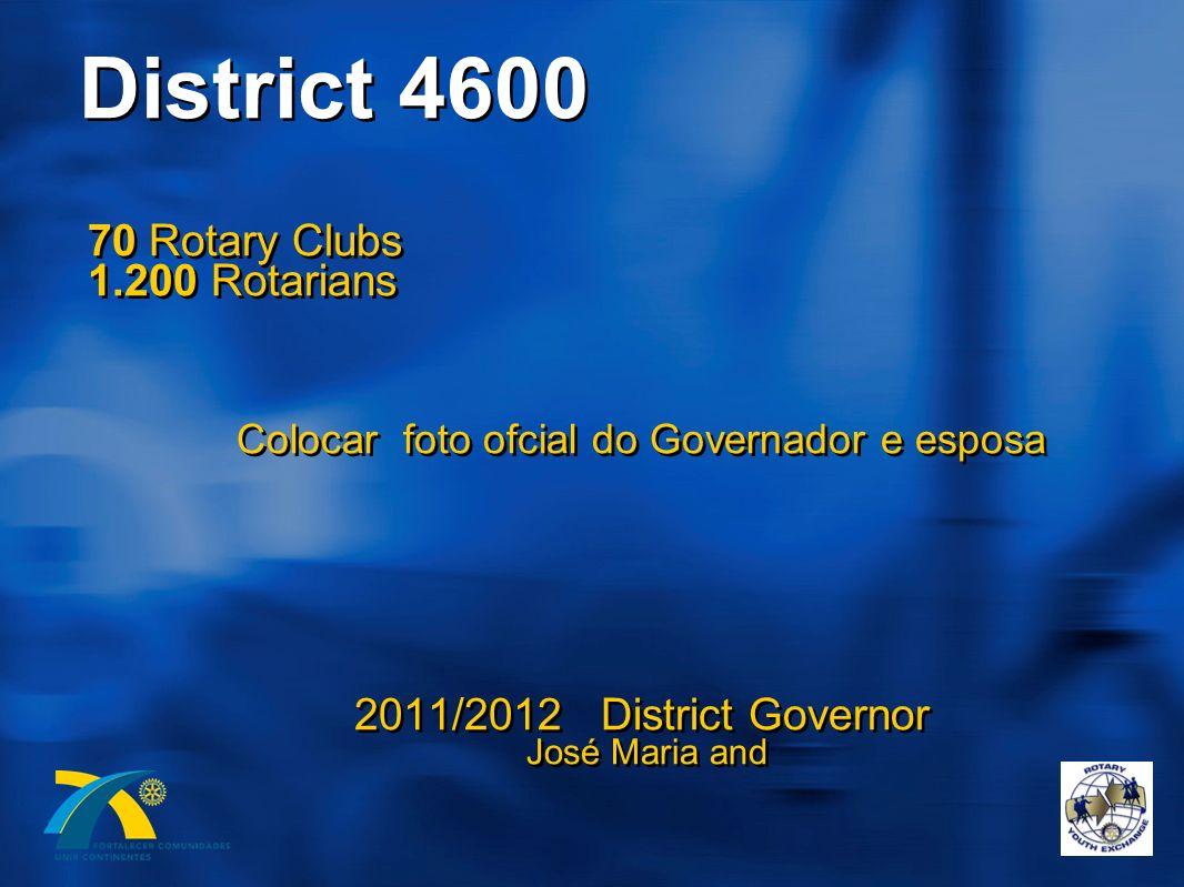 District 4600 70 Rotary Clubs 1.200 Rotarians Colocar foto ofcial do Governador e esposa 2011/2012 District Governor José Maria and 70 Rotary Clubs 1.