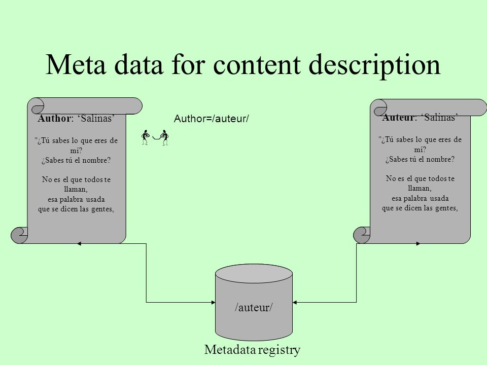 Meta data for content description Author: Salinas