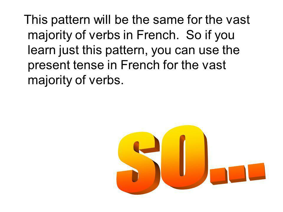 This pattern will be the same for the vast majority of verbs in French. So if you learn just this pattern, you can use the present tense in French for
