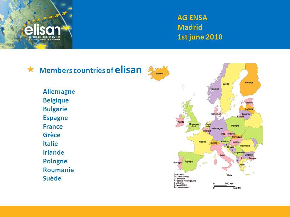 Members countries of elisan Allemagne Belgique Bulgarie Espagne France Grèce Italie Irlande Pologne Roumanie Suède AG ENSA Madrid 1st june 2010