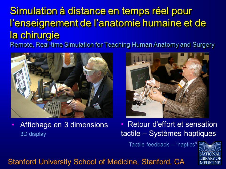 Simulation à distance en temps réel pour lenseignement de lanatomie humaine et de la chirurgie Remote, Real-time Simulation for Teaching Human Anatomy