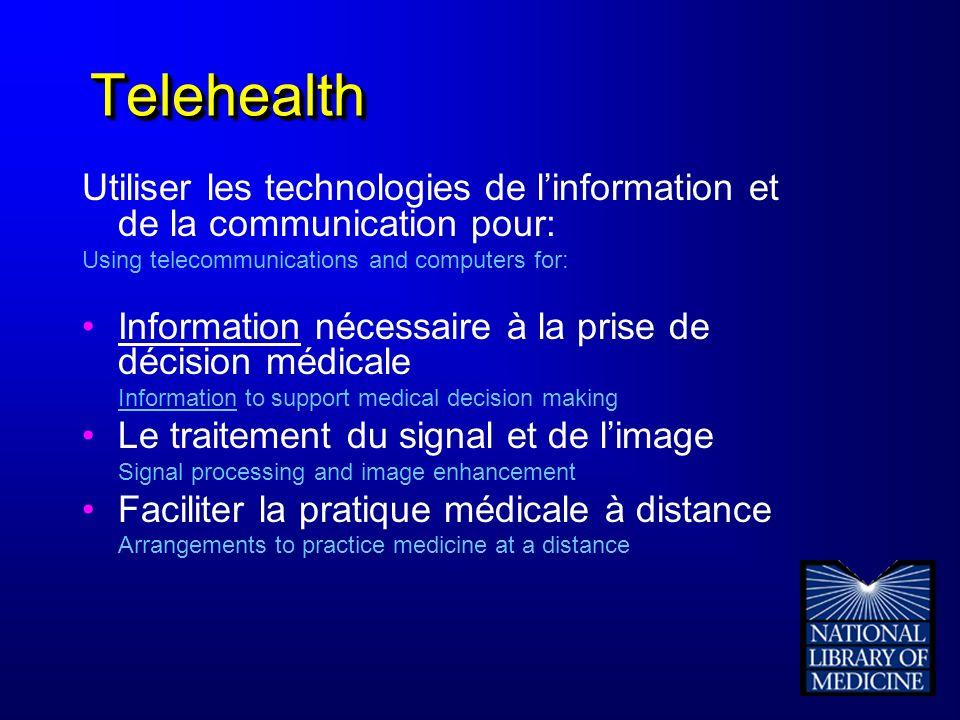 TelehealthTelehealth Utiliser les technologies de linformation et de la communication pour: Using telecommunications and computers for: Information né