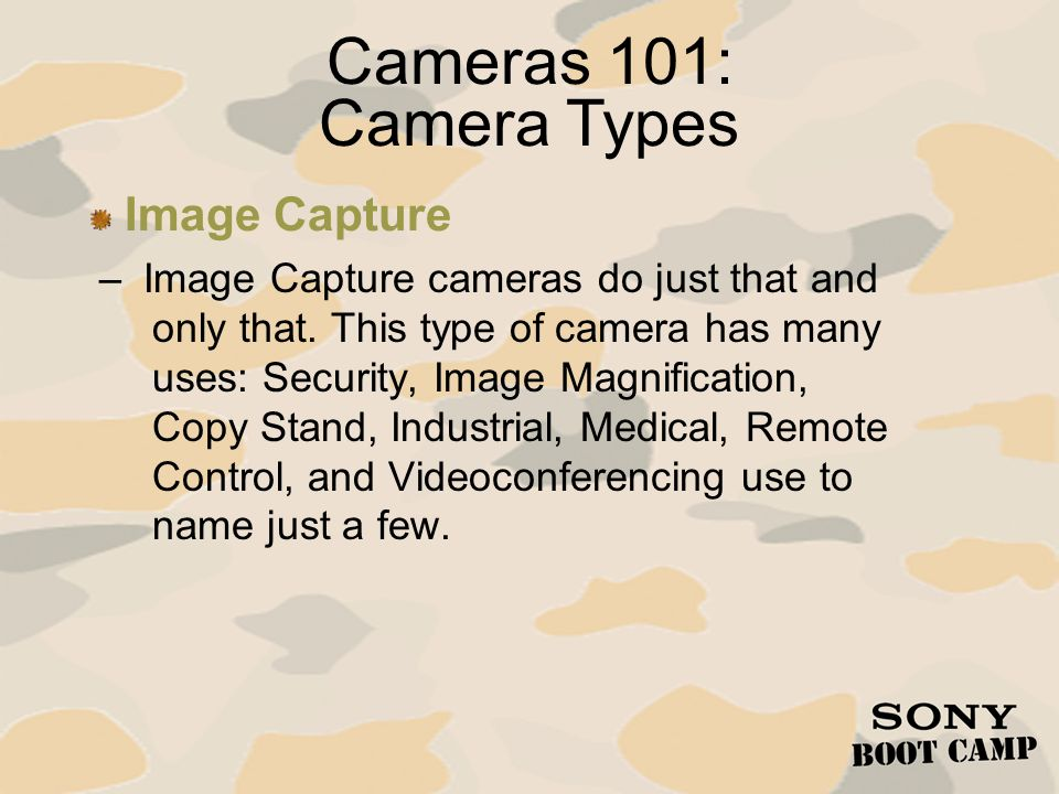 – Image Capture cameras do just that and only that. This type of camera has many uses: Security, Image Magnification, Copy Stand, Industrial, Medical,