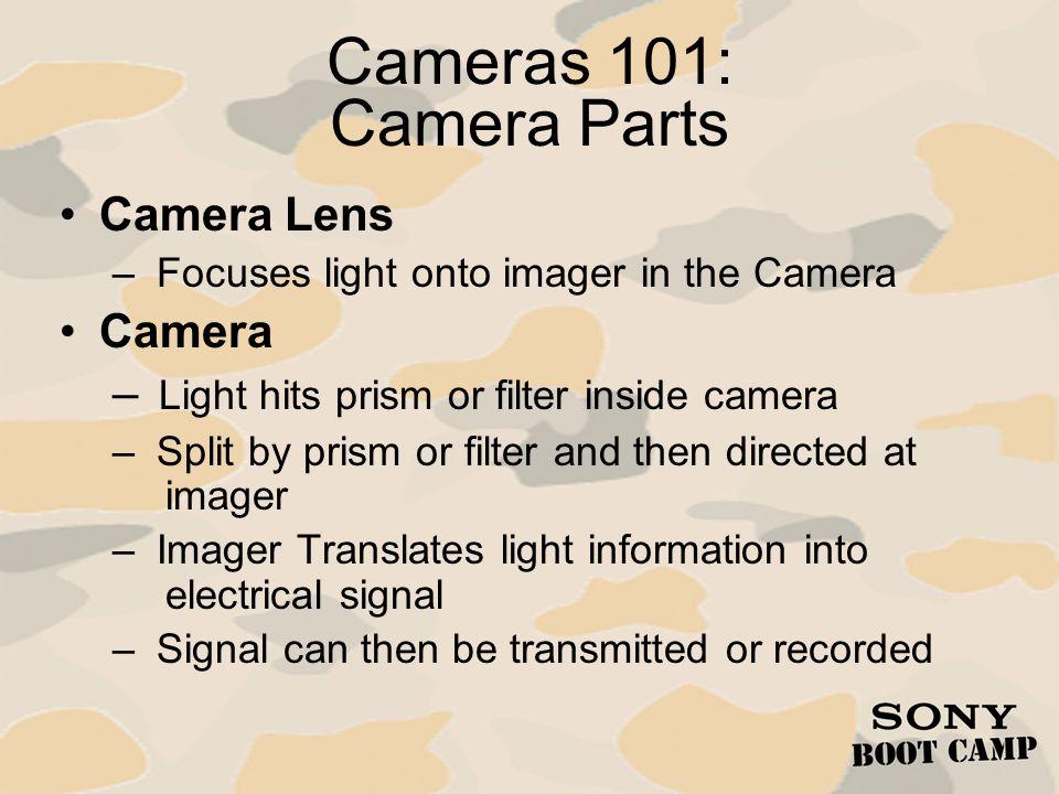 Cameras 101: Camera Design Parameters Camera Design – Single or Multi-Imager Tube Cameras CCD CMOS –Imager Size – Processing Analog Digital (DSP) –Type Studio EFP ENG Image Capture Definition/Aspect Ratio u Standard Def.