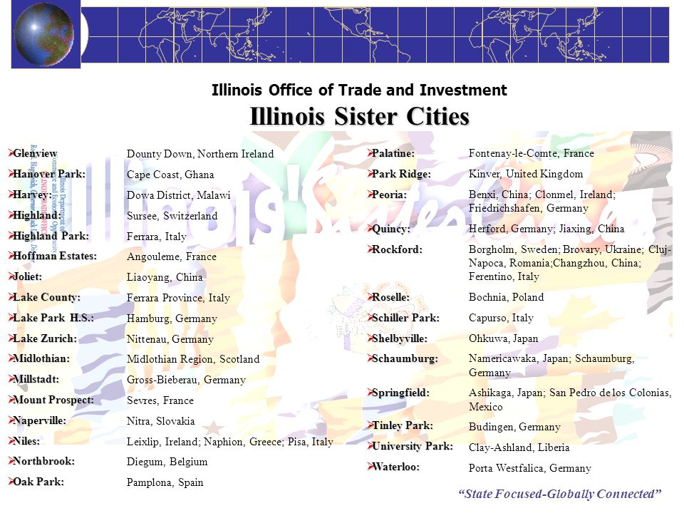 State Focused-Globally Connected Illinois Sister Cities Illinois Office of Trade and Investment Illinois Sister Cities Glenview Glenview Hanover Park: