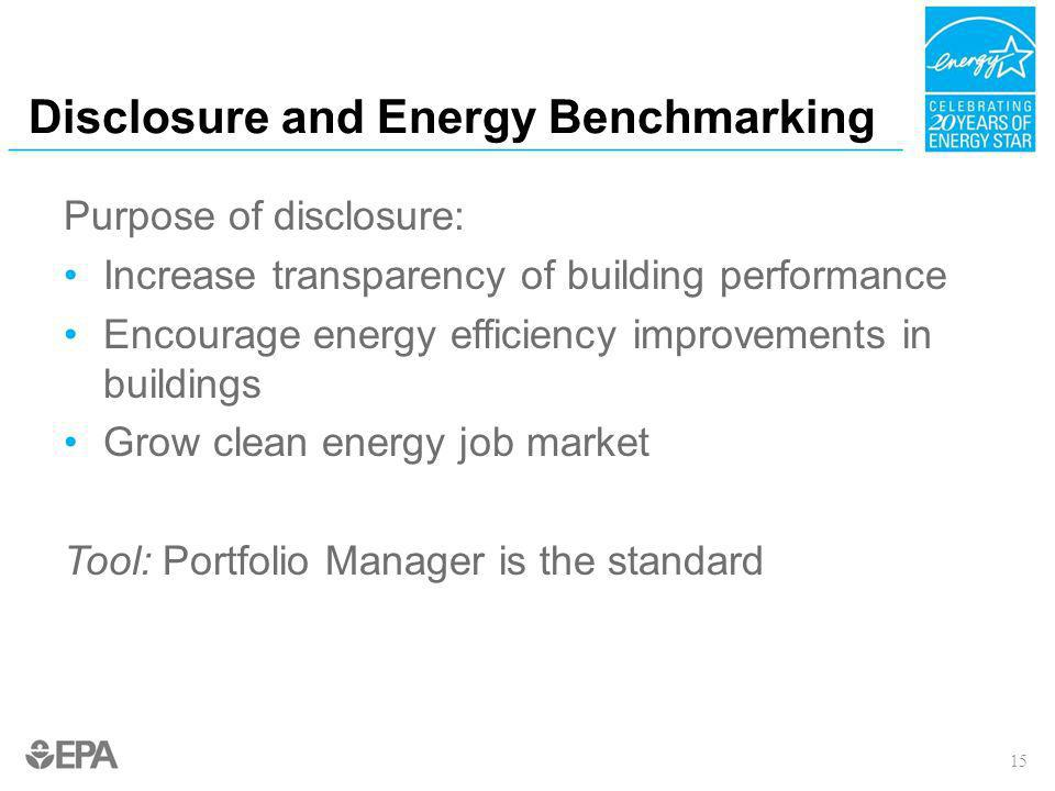 Disclosure and Energy Benchmarking Purpose of disclosure: Increase transparency of building performance Encourage energy efficiency improvements in bu