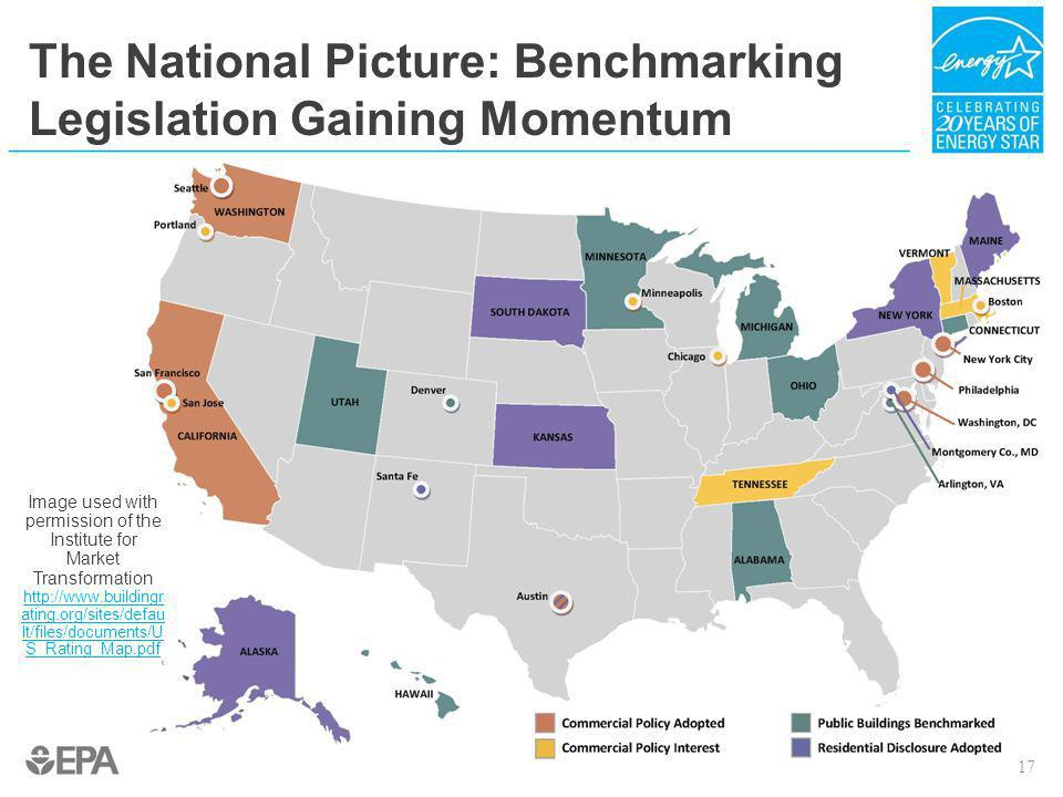 The National Picture: Benchmarking Legislation Gaining Momentum Image used with permission of the Institute for Market Transformation http://www.build