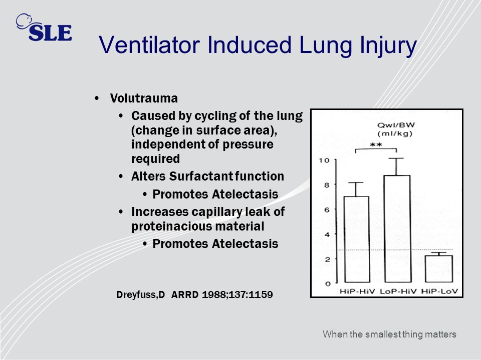 When the smallest thing matters Ventilator Induced Lung Injury Volutrauma Caused by cycling of the lung (change in surface area), independent of press