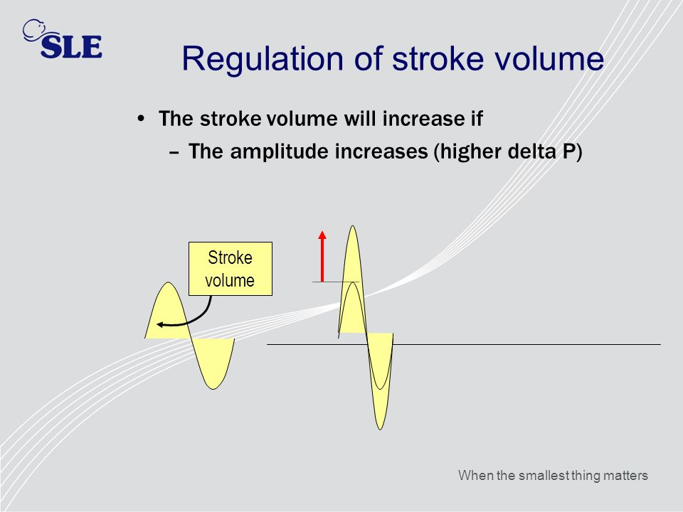 When the smallest thing matters Regulation of stroke volume The stroke volume will increase if –The amplitude increases (higher delta P) Stroke volume