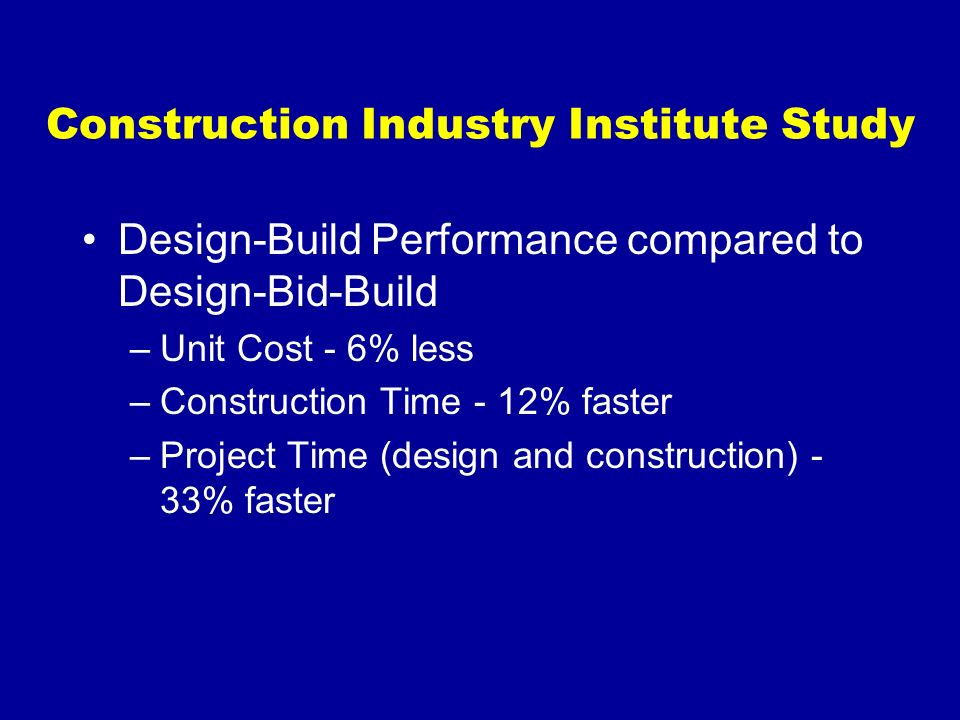 Construction Industry Institute Study Design-Build Performance compared to Design-Bid-Build –Unit Cost - 6% less –Construction Time - 12% faster –Proj