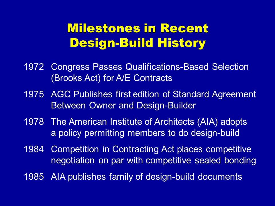 Milestones in Recent Design-Build History 1972Congress Passes Qualifications-Based Selection (Brooks Act) for A/E Contracts 1975AGC Publishes first ed