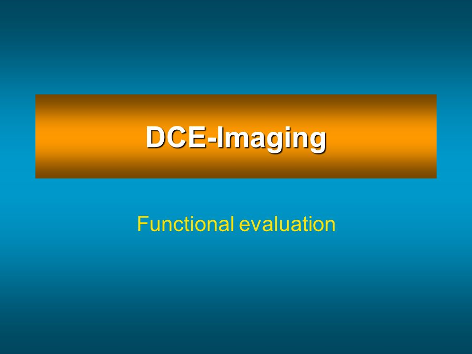 DCE-Imaging Functional evaluation