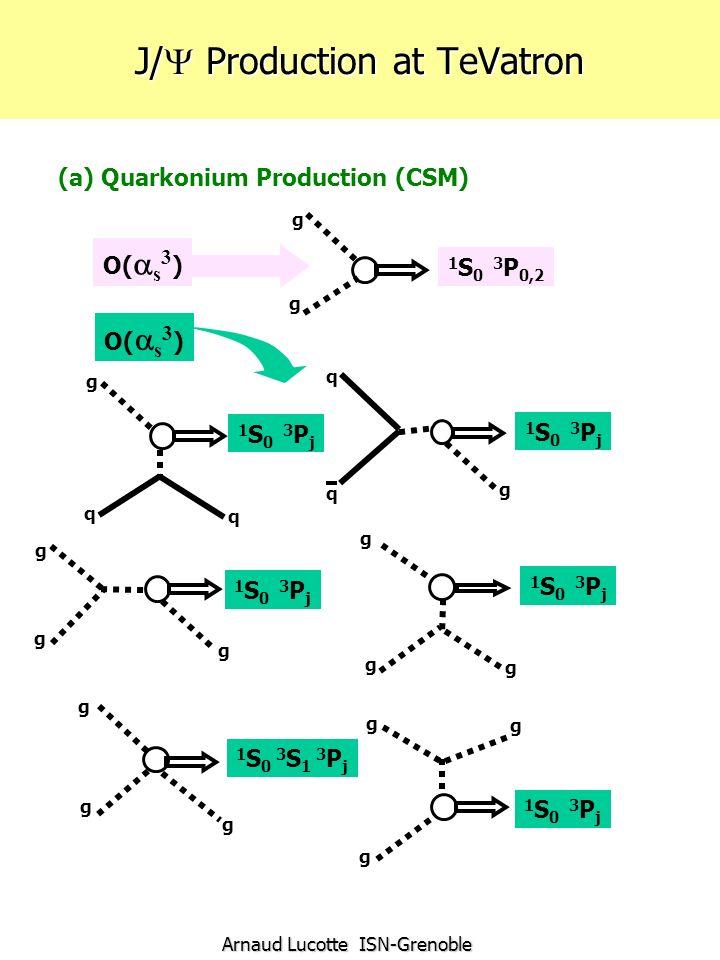 Arnaud Lucotte ISN-Grenoble J/ Production at TeVatron (a) Quarkonium Production (CSM) 1 S 0 3 P j 1 S 0 3 P 0,2 1 S 0 3 P j 1 S 0 3 S 1 3 P j 1 S 0 3 P j g g g g g g g g g g g g g g g q q q q g O( s 3 )