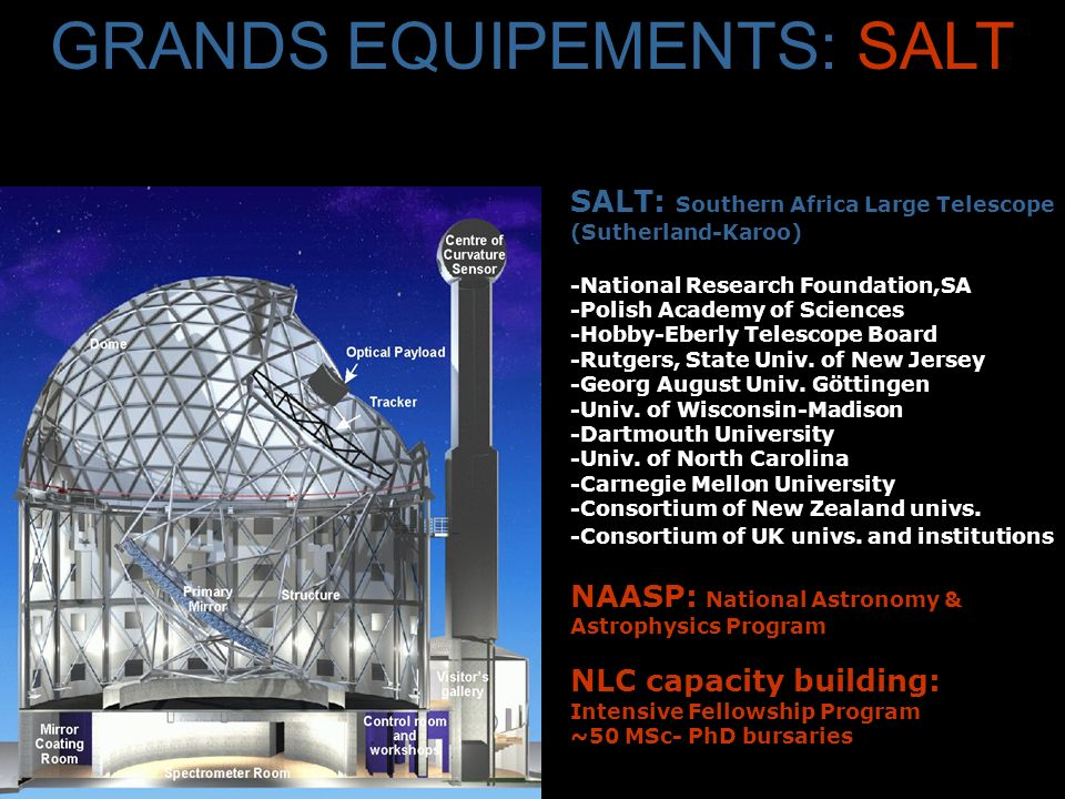SALT: Southern Africa Large Telescope (Sutherland-Karoo) -National Research Foundation,SA -Polish Academy of Sciences -Hobby-Eberly Telescope Board -Rutgers, State Univ.