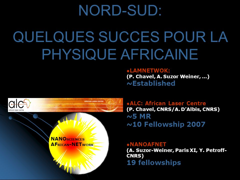 LAMNETWOK: (P. Chavel, A. Suzor Weiner, …) ~Established ALC: African Laser Centre (P.