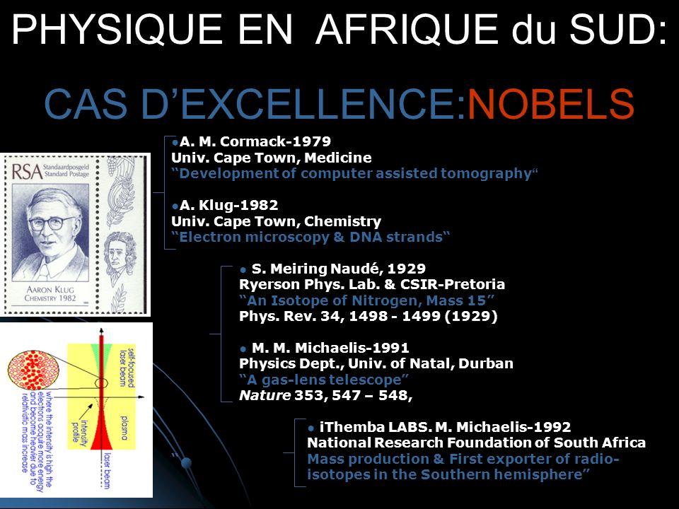 PHYSIQUE EN AFRIQUE du SUD: CAS DEXCELLENCE:NOBELS A.