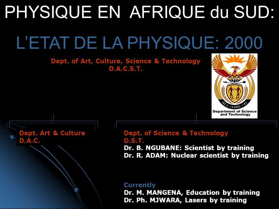 PHYSIQUE EN AFRIQUE du SUD: LETAT DE LA PHYSIQUE: 2000 Dept.