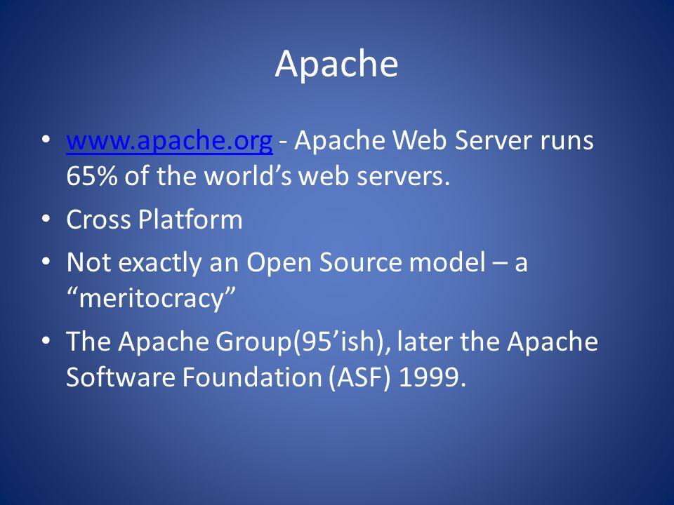 Apache www.apache.org - Apache Web Server runs 65% of the worlds web servers. www.apache.org Cross Platform Not exactly an Open Source model – a merit