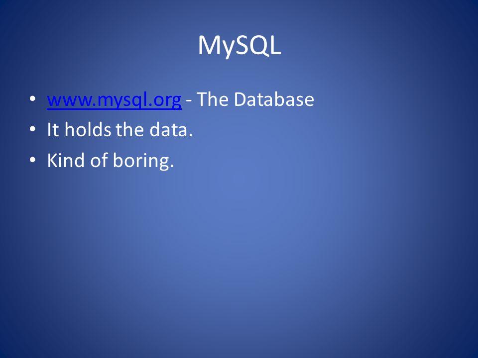 MySQL www.mysql.org - The Database www.mysql.org It holds the data. Kind of boring.