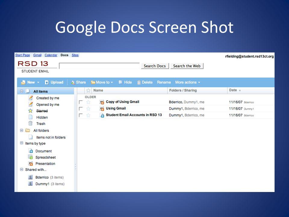 Google Docs Screen Shot