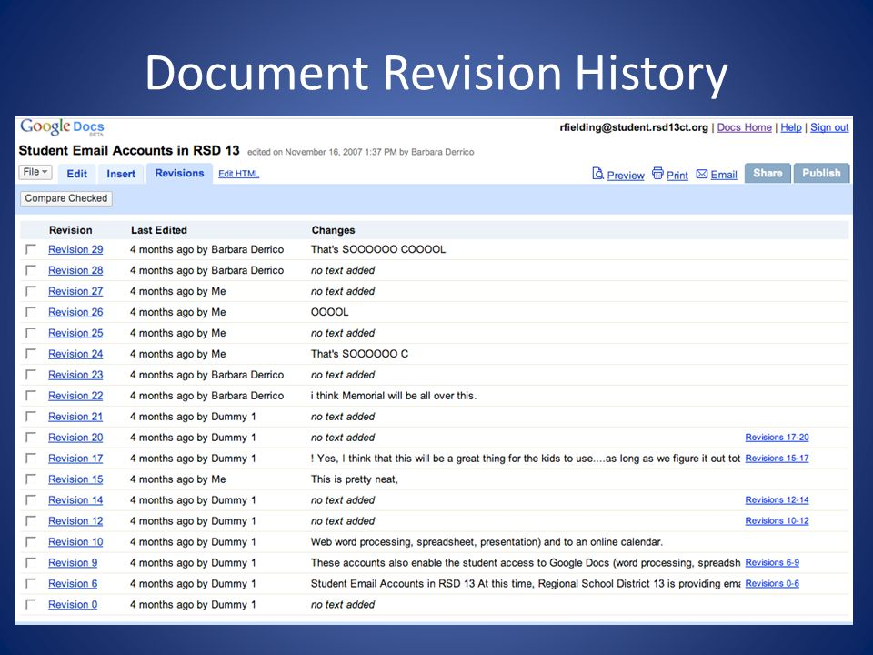 Document Revision History
