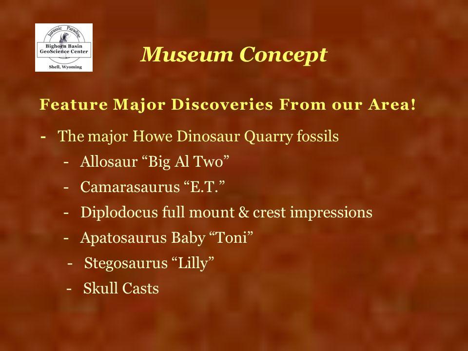 Museum Concept Feature Major Discoveries From our Area! - The major Howe Dinosaur Quarry fossils - Allosaur Big Al Two - Camarasaurus E.T. - Diplodocu