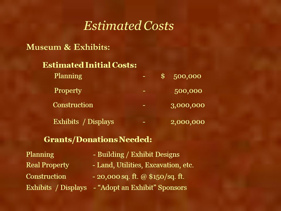 Estimated Costs Museum & Exhibits: Estimated Initial Costs: Planning - $ 500,000 Property - 500,000 Construction - 3,000,000 Exhibits / Displays - 2,0