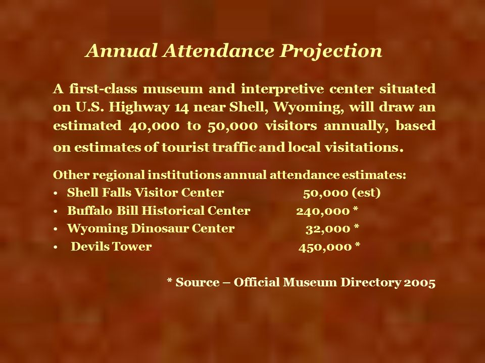 Annual Attendance Projection A first-class museum and interpretive center situated on U.S. Highway 14 near Shell, Wyoming, will draw an estimated 40,0