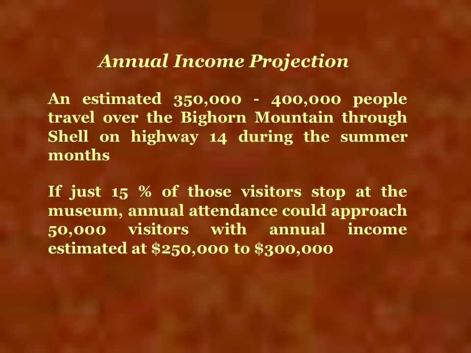 An estimated 350,000 - 400,000 people travel over the Bighorn Mountain through Shell on highway 14 during the summer months If just 15 % of those visi