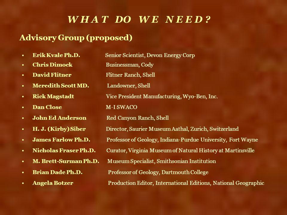 Advisory Group (proposed) Erik Kvale Ph.D. Senior Scientist, Devon Energy Corp Chris Dimock Businessman, Cody David Flitner Flitner Ranch, Shell Mered