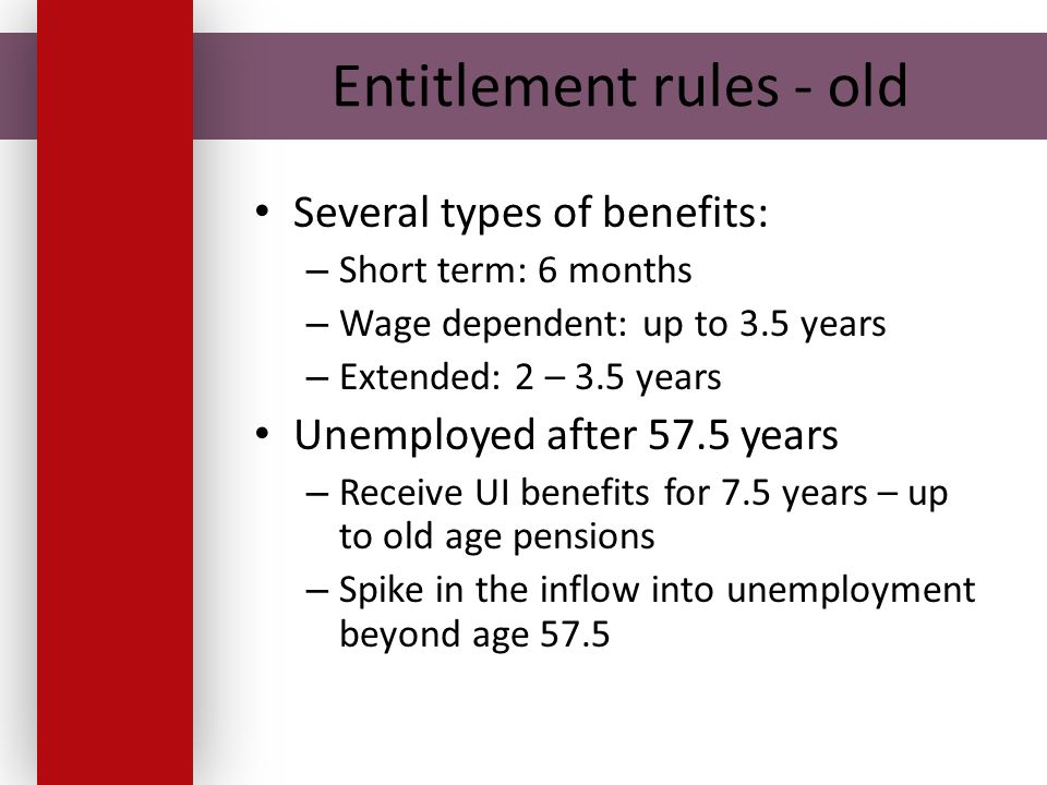Entitlement rules - old Several types of benefits: – Short term: 6 months – Wage dependent: up to 3.5 years – Extended: 2 – 3.5 years Unemployed after