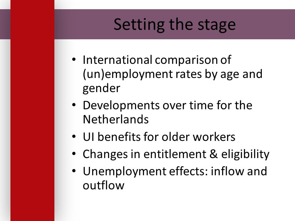 Setting the stage International comparison of (un)employment rates by age and gender Developments over time for the Netherlands UI benefits for older workers Changes in entitlement & eligibility Unemployment effects: inflow and outflow