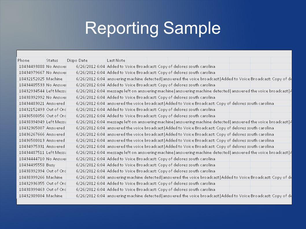 Reporting Sample