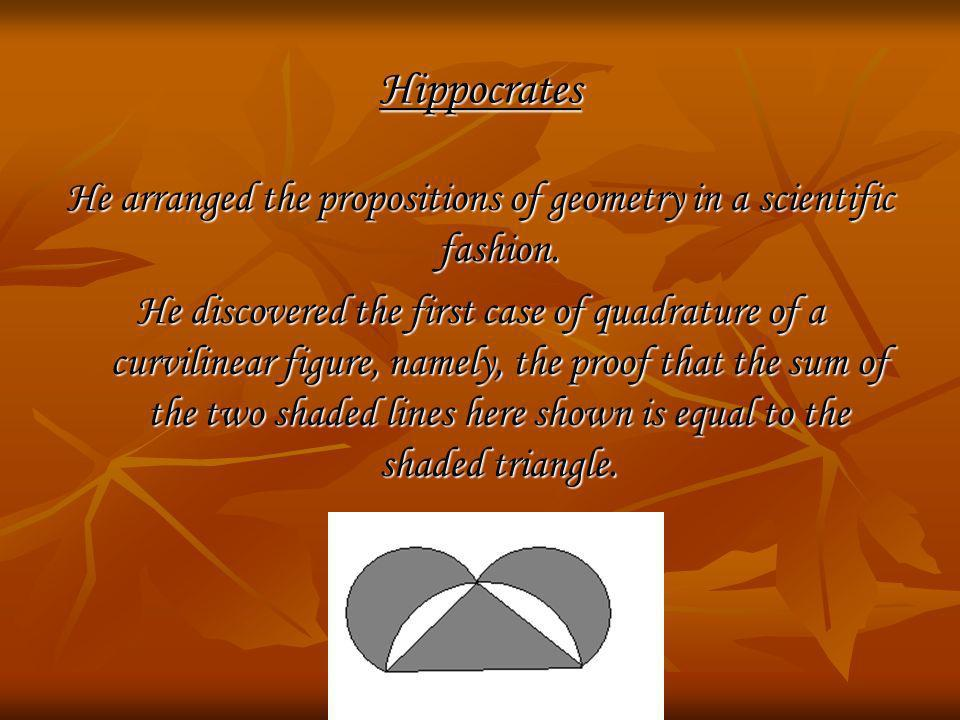 Hippocrates He arranged the propositions of geometry in a scientific fashion. He discovered the first case of quadrature of a curvilinear figure, name