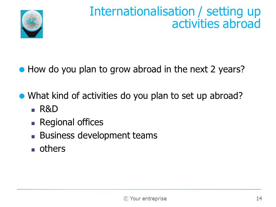 14 How do you plan to grow abroad in the next 2 years? What kind of activities do you plan to set up abroad? R&D Regional offices Business development