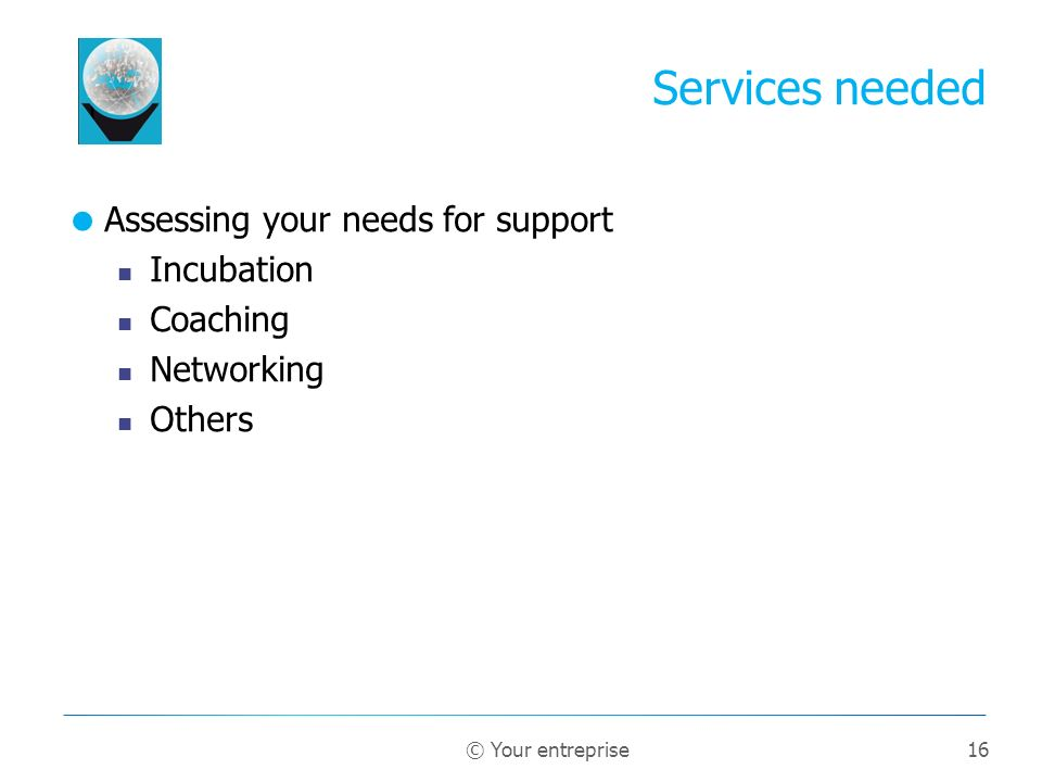 16 Assessing your needs for support Incubation Coaching Networking Others Services needed © Your entreprise