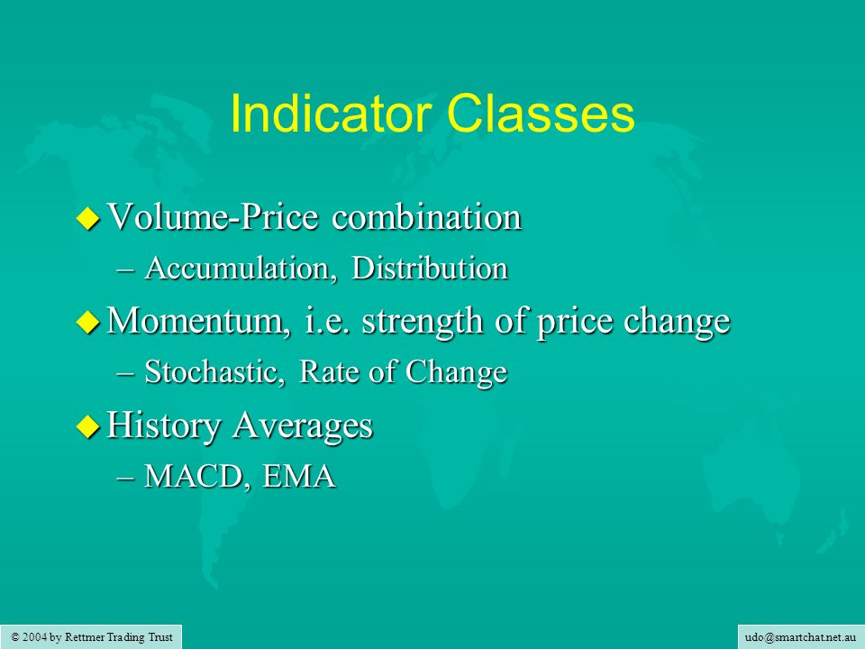 udo@smartchat.net.au © 2004 by Rettmer Trading Trust Indicator Classes u Volume-Price combination –Accumulation, Distribution u Momentum, i.e.