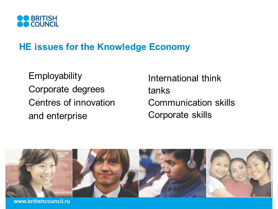 HE issues for the Knowledge Economy Employability Corporate degrees Centres of innovation and enterprise International think tanks Communication skill