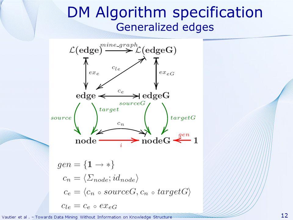 Vautier et al. – Towards Data Mining Without Information on Knowledge Structure 12 DM Algorithm specification Generalized edges