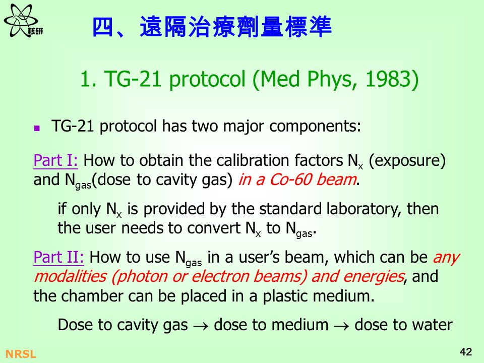 42 NRSL 1. TG-21 protocol (Med Phys, 1983) Part I: How to obtain the calibration factors N x (exposure) and N gas (dose to cavity gas) in a Co-60 beam