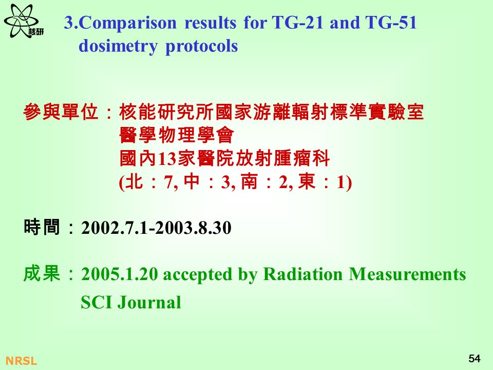54 NRSL 3.Comparison results for TG-21 and TG-51 dosimetry protocols 13 ( 7, 3, 2, 1) 2002.7.1-2003.8.30 2005.1.20 accepted by Radiation Measurements
