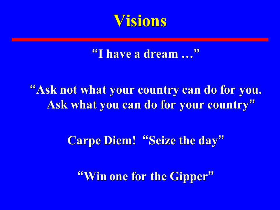 Visions I have a dream … I have a dream … Ask not what your country can do for you. Ask what you can do for your country Ask not what your country can