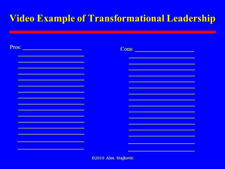 ©2010 Alex Stajkovic Video Example of Transformational Leadership _____________________ _____________________ _____________________ __________________